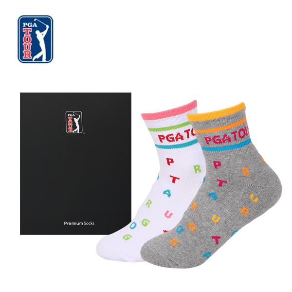 PGA TOUR 골프스포츠 양말(드라이쿨)여성용 2족